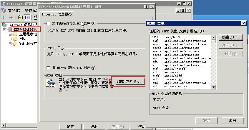 IIS添加MIME扩展类型及常用的MIME类型列表